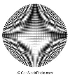 Spherical, globe distort effect. Curved bulge, protrude warp...