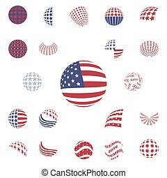 Spherical gray color symbols USA Flag