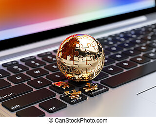 Spherical jigsaw puzzle - 3d rendering of a golden spherical...