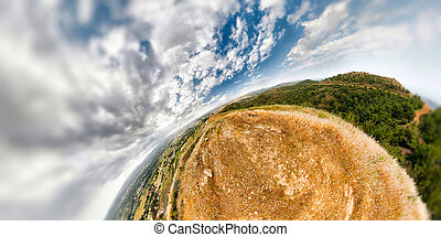 An earhtly rocky mountain landscape with an extreme wide angle wrapping
