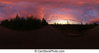 Spherical panorama of impressively colored sky over street in Vasterbottens forests, shortly before heavy rain