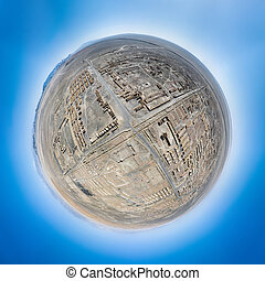 spherical panorama of the cold lake oil base ruins site, little planet image of an abandoned town, haixi prefecture, qinghai province, China.