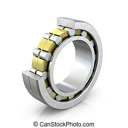 Spherical radial bearing in a cut isolated white background...