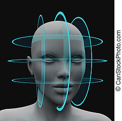 spherical scanning facial recognition without hair. 3d...