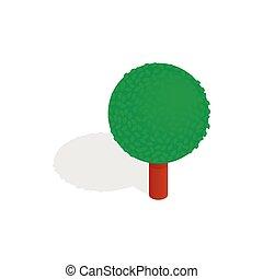 Spherical tree icon, isometric 3d style