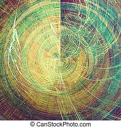 Spherical vintage texture, old style frame decoration with grunge graphic elements and different color patterns: yellow (beige); brown; green; blue; purple (violet); cyan