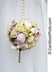 spherical wedding bouquet of flowers