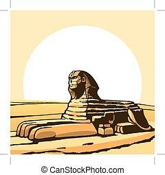 Sphinx. Ancient statue. Vector