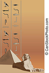 Sphinx and Hieroglyphs - Background illustration with the...