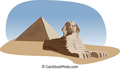 Sphinx and Pyramid - Background illustration with the sphinx...