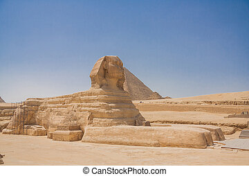 Sphinx and Pyramid in Giza