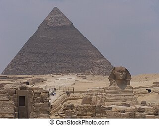 sphinx and pyramids - sphinx and pyramid, egypt