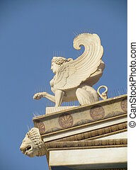 Sphinx, Athens - A statue of a sphinx on top of the Academy...