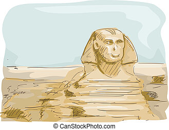 Sphinx Egypt - Illustration Featuring the Great Sphinx of...