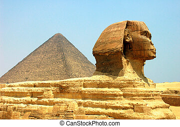 Sphinx in front of Pyramid Giza