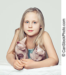 sphinx, kittens., chouchou, jeune enfant, girl