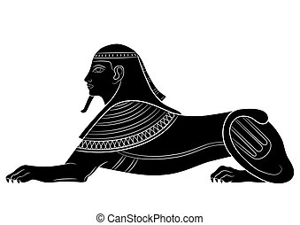 Sphinx - illustrations of the mythical creature of ancient Egypt - vector