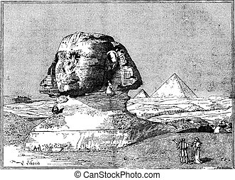 Sphinx, near the ruins of Memphis, Egypt, vintage engraving.