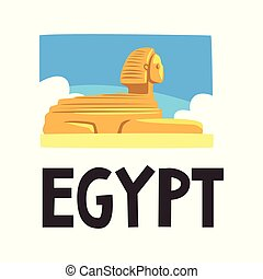 Sphinx of Giza, blue sky and white clouds on background. Ancient sculpture of mythical creature with body of lion and head of human. Travel to Egypt. Flat vector design