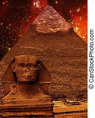 Sphinx, Pyramid of Khafre and small Magellanic Cloud...