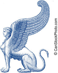 Sphinx statue - vector illustratio - Sphinx statue - vector...