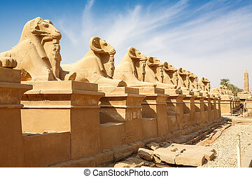 Sphinxes avenue. Luxor, Egypt - Avenue of the ram-headed...