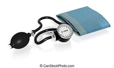 sphygmomanometer, aislado, blanco, plano de fondo