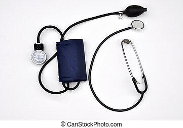 Blood pressure cuff and stethoscope