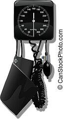 sphygmomanometer (blood pressure machine).