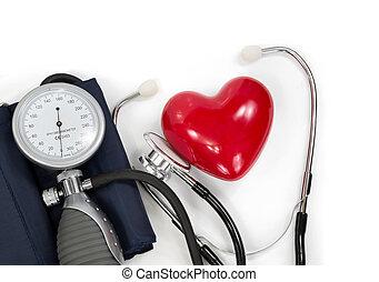 sphygmomanometer, com, coração