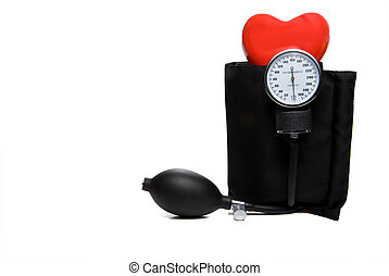 A red heart and a medical blood pressure Sphygmomanometer.