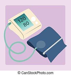 Sphygmomanometer measures blood pressure readings of 120/80 ...