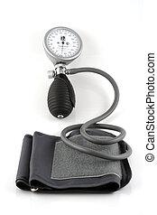 Sphygmomanometer on white background