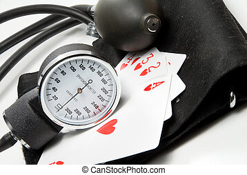 Sphygmomanometer with Playing Cards