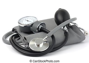 Classic blood pressure meter: sphygmomanometer with stethoscope, shallow depth of field