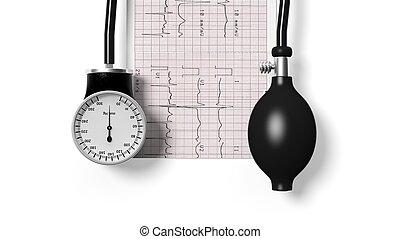 sphygmomanometer, y, cardiograma, aislado, blanco, plano de fondo