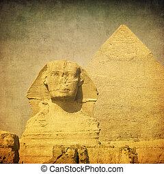 sphynx, イメージ, ピラミッド, グランジ