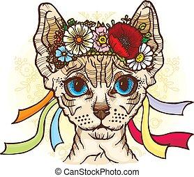 Sphynx cat in the Ukrainian national wreath