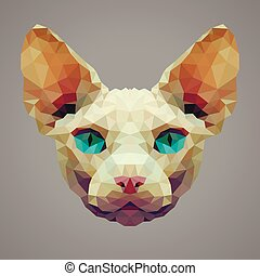 Sphynx cat low poly portrait