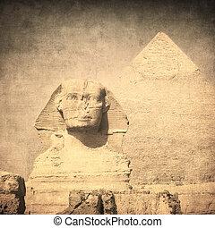 sphynx, imagen, pirámide, grunge