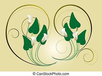 spi, decoração, flores, calla