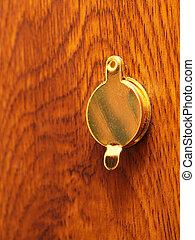 spia, porta, peephole, buco, o, vista