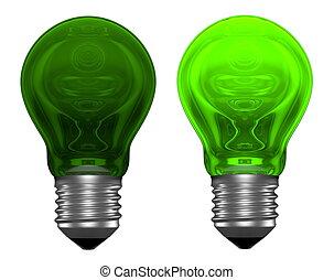spia verde, lampadine