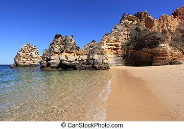 spiaggia, a, il, algarve, costa, appresso, lagos, portogallo