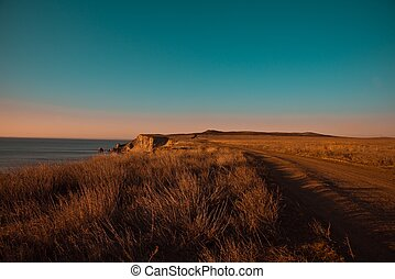 spiaggia, a, tramonto
