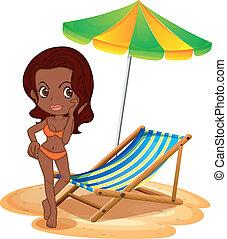 spiaggia, abbronzatura, signora
