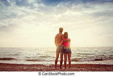 spiaggia, agganciare tramonto, ammirare