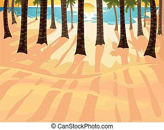 spiaggia, albero noce cocco, alba