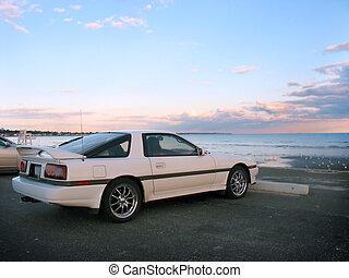 spiaggia, automobile sportivi