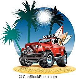 spiaggia, automobile, vettore, 4x4, cartone animato